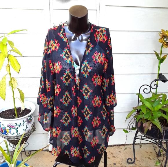 Sheer Boho kimono sz XXL